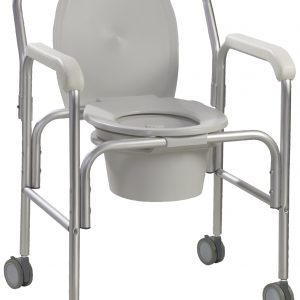 Aluminum Commode with Wheels-0