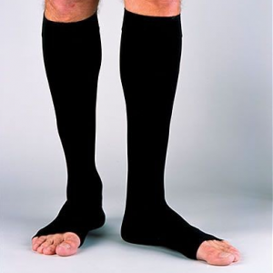 Men's Open Toe Knee High Ribbed Compression Socks