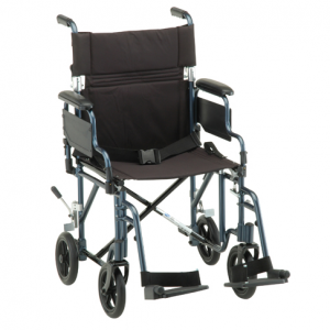 19 inch Transport Chair with Detachable Arms in Blue