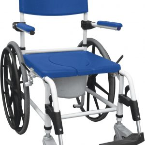 "Aluminum Rehab Shower Commode Chair with 24"" Rear Wheels-0"