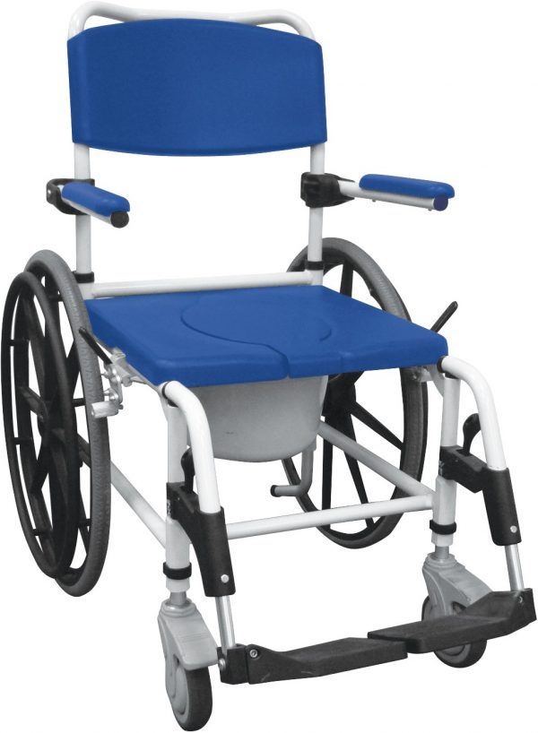 """Aluminum Rehab Shower Commode Chair with 24"""" Rear Wheels-0"""