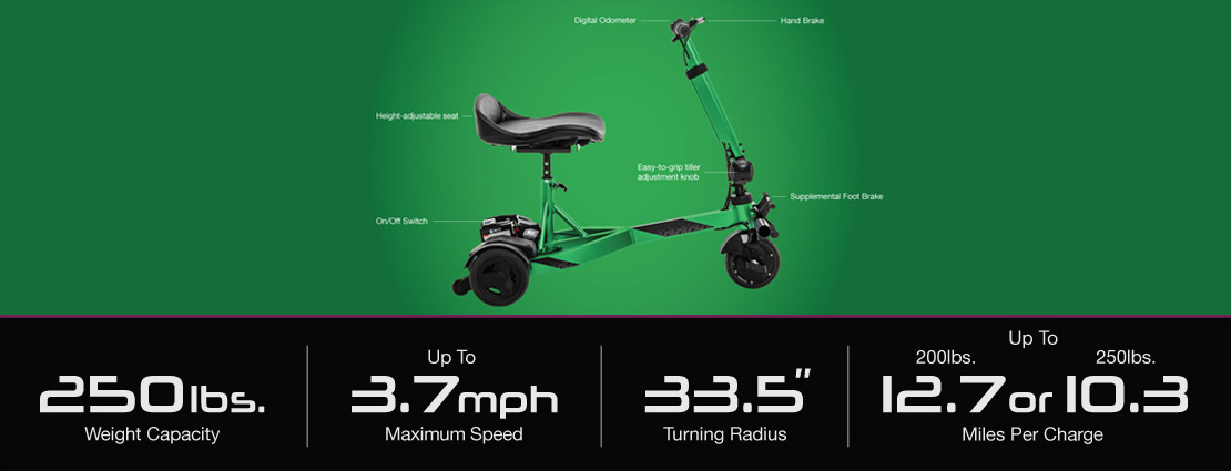 Scooter with labelled dimensions
